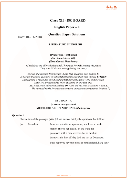 Previous Year Literature in English Question Paper for ISC Class 12