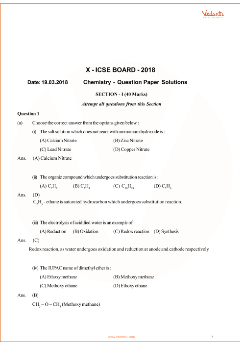 Previous Year Chemistry Question Paper for ICSE Class 10 Board - 2018