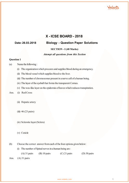 Previous Year Biology Question Paper for ICSE Class 10 Board - 2018