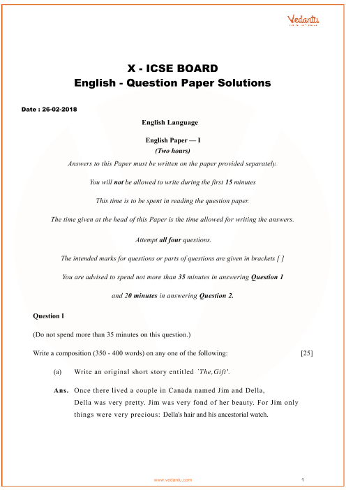 Previous Year English Question Paper for ICSE Class 10 Board - 2018