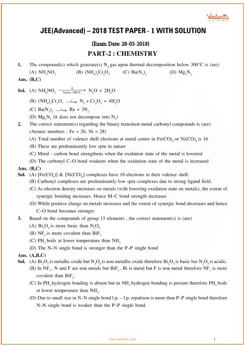 JEE Advanced 2018 Chemistry Question Paper-1 with Answer