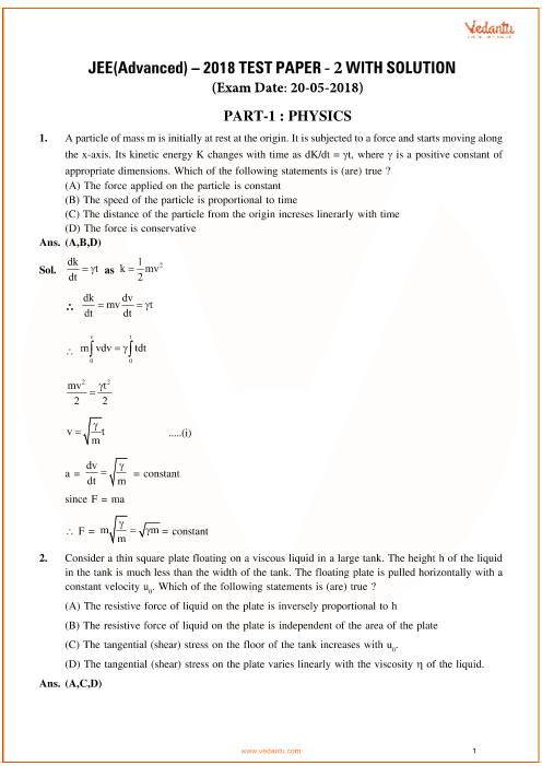 JEE Advanced 2018 Physics Question Paper-2 with Answer Keys