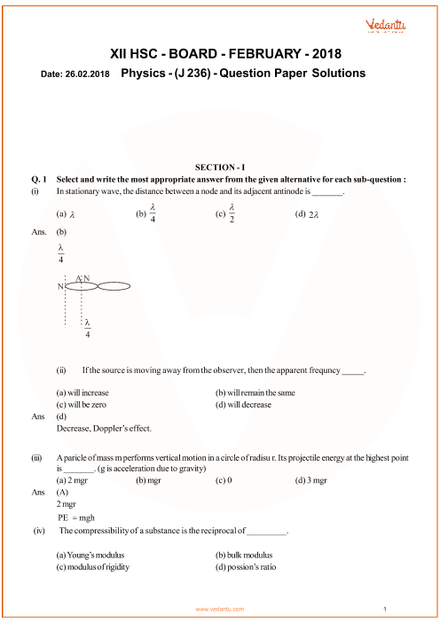 Previous Year Question Paper for Maharashtra (MSBSHSE) HSC Board
