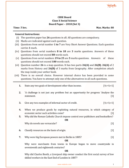 Previous Year Social Science Question Paper for CBSE Class 10 - 2018