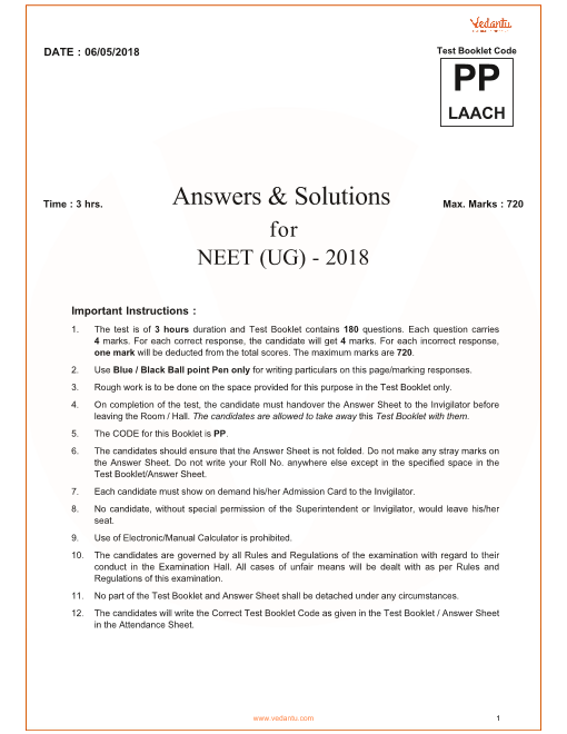 NEET 2018 QP with Solutions Code-pp part-1