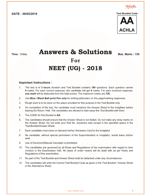 NEET 2018 Question Paper with Solutions and Answers Keys for Code-AA