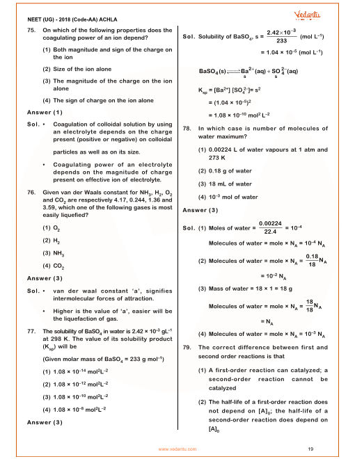 NEET 2018 Question Paper with Solutions and Answers Keys for