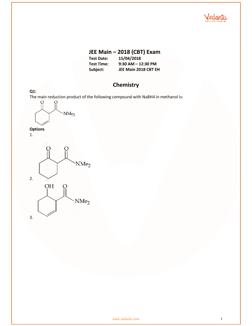JEE Main 2018 Chemistry Question Paper with Answer Keys