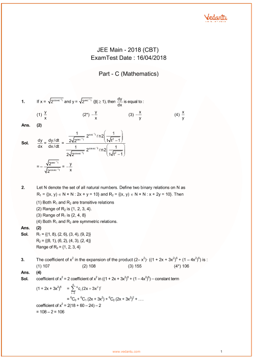 jee main 2018 online answer key with solution