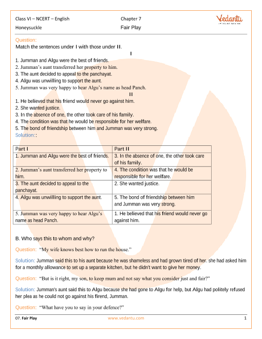 NCERT Solutions for Class 6 English Honeysuckle Chapter 7 - Fair Play