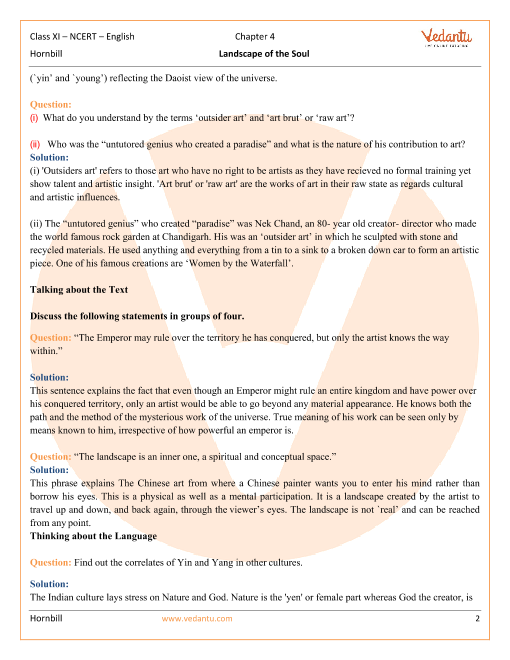 NCERT Solutions for Class 11 English Hornbill Chapter 4 - Landscape