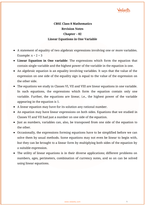 CBSE Class 8 Maths Chapter 2 - Linear Equations in One