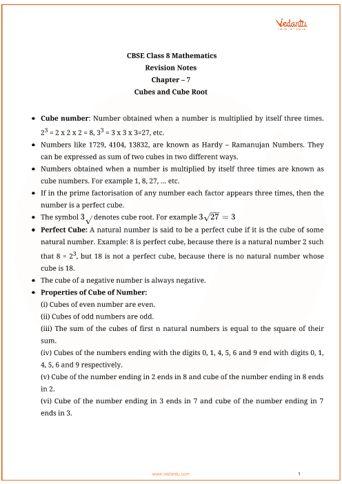CBSE Class 8 Maths Chapter 7 - Cubes and Cube Roots Revision
