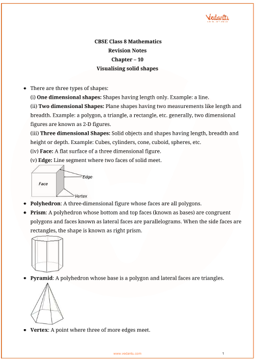 CBSE Class 8 Maths Chapter 10 - Visualising Solid Shapes Revision Notes