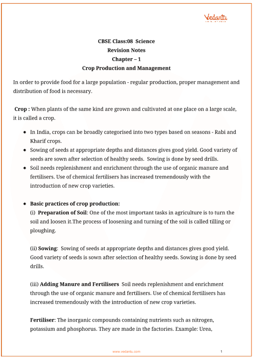 CBSE Class 8 Science Chapter 1 - Crop Production and