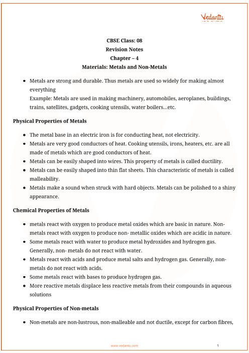 Class_8_science_key_notes_ch_04_materials part-1
