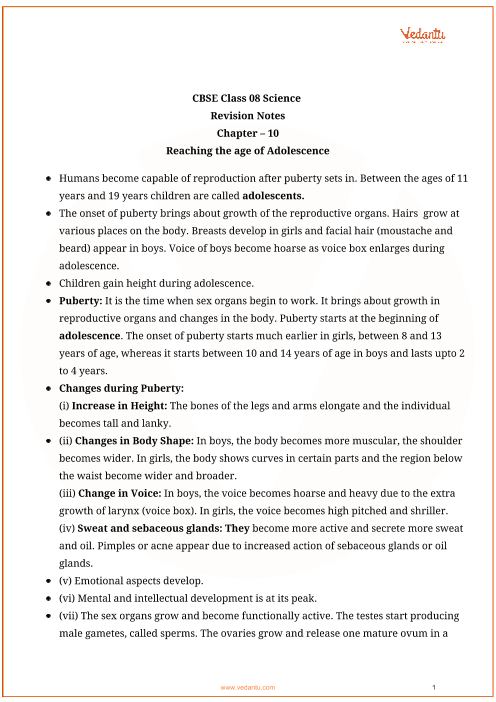 CBSE Class 8 Science Chapter 10 - Reaching The Age of