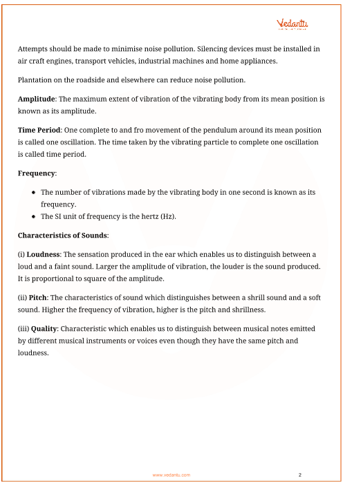 CBSE Class 8 Science Chapter 13 - Sound Revision Notes