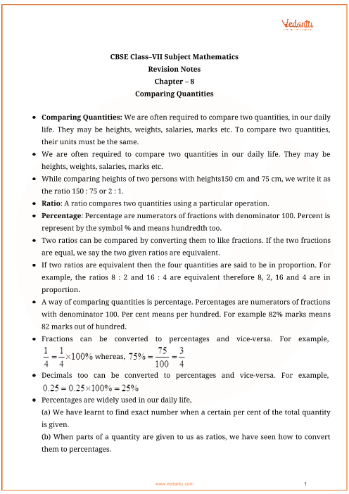 CBSE Class 7 Maths Chapter 8 - Comparing Quantities Revision Notes