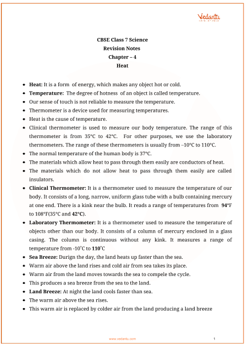 CBSE Class 7 Science Chapter 4 - Heat Revision Notes