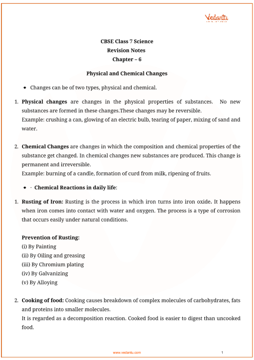 CBSE Class 7 Science Chapter 6 - Physical and Chemical