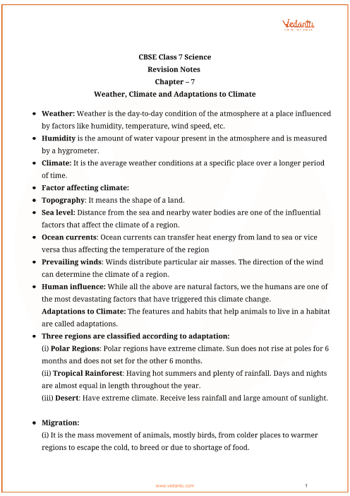 CBSE Class 7 Science Chapter 7 - Weather, Climate and Adaptations of