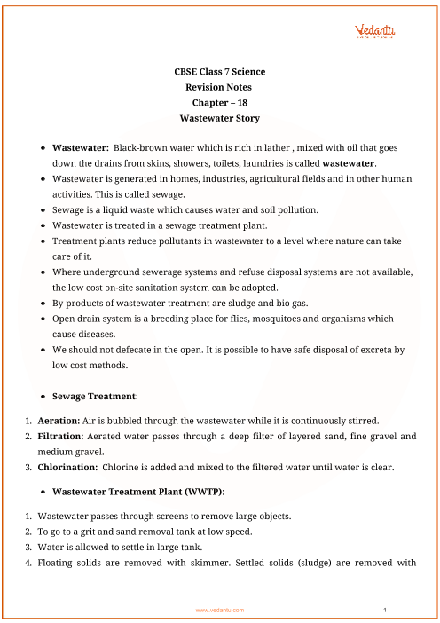 Class_7_science_key_notes_ch18_waste_water_story part-1