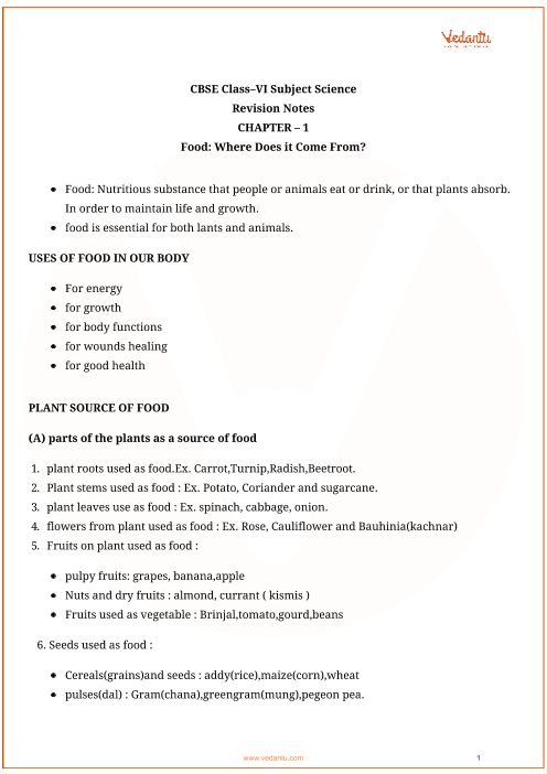 cbse class 6 science chapter 1 food where does it come from revision notes. Black Bedroom Furniture Sets. Home Design Ideas