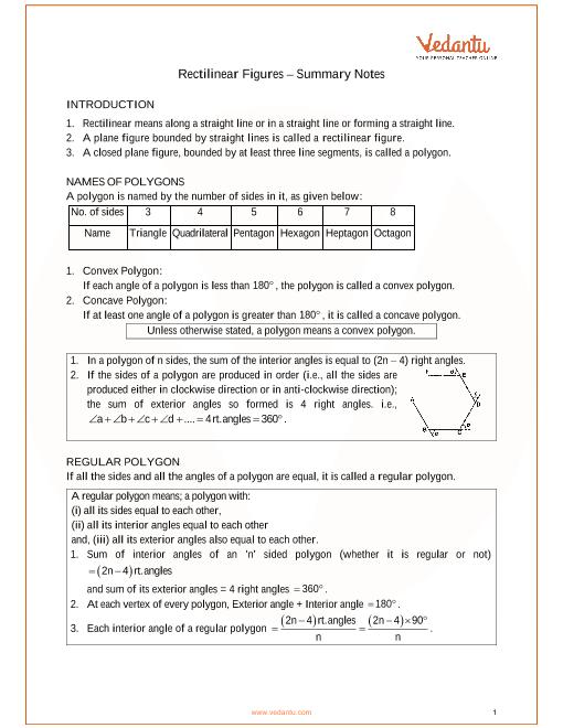 ICSE Class 9 Mathematics Chapter 14 - Rectilinear Figures Revision Notes