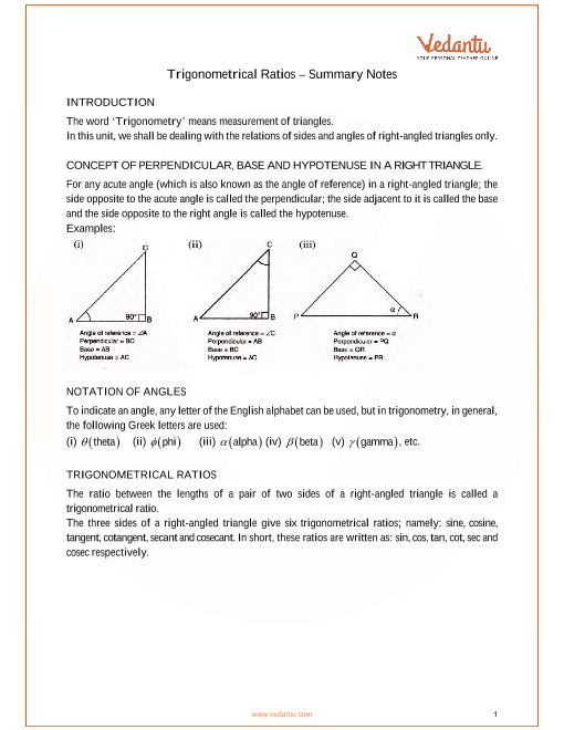 ICSE Class 9 Mathematics Chapter 22 - Trigonometrical Ratios