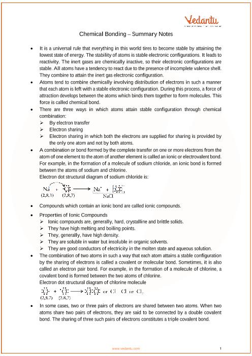 ICSE Class 10 Chemistry Chapter 2 - Chemical Bonding
