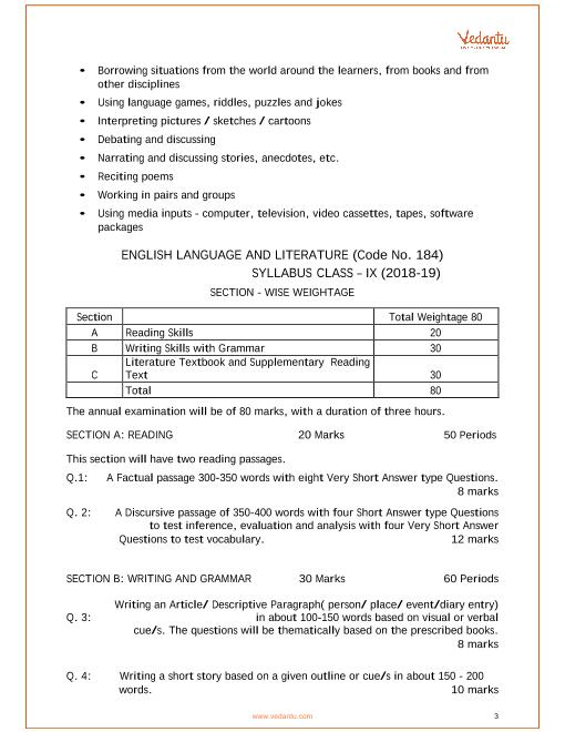 CBSE Syllabus for Class 9 English Language and Literature