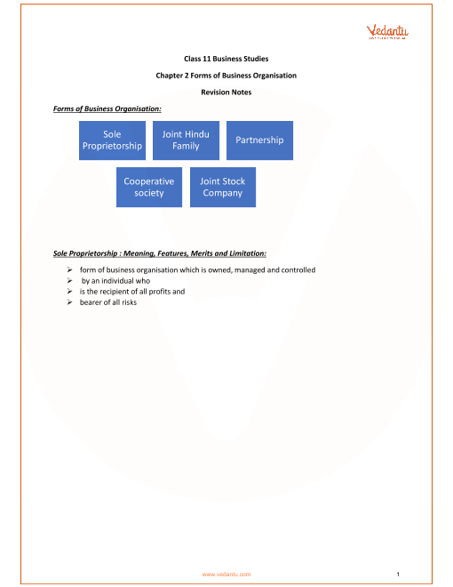 CBSE Class 11 Business Studies Chapter 2 - Forms of Business