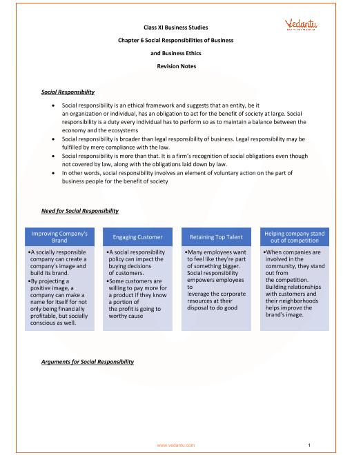 CBSE Class 11 Business Studies Chapter 6 - Social