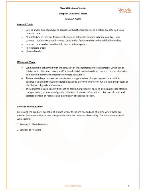 CBSE Class 11 Business Studies Chapter 10 - Internal Trade Revision