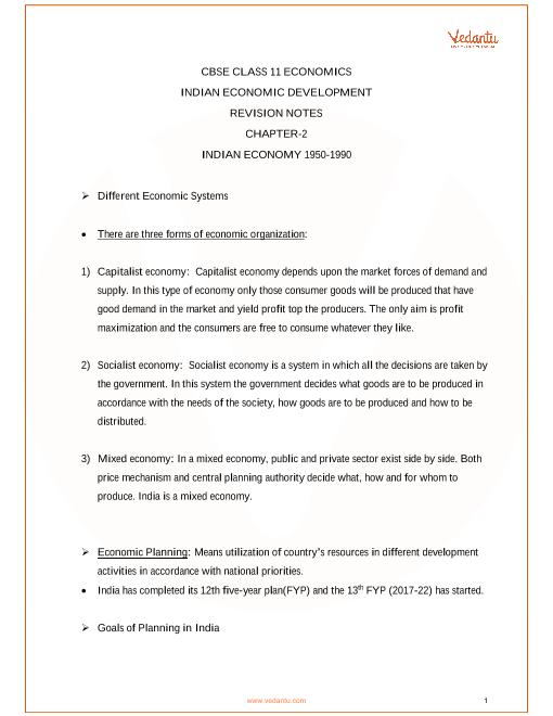 CBSE Class 11 Indian Economic Development Chapter 2 - Indian Economy