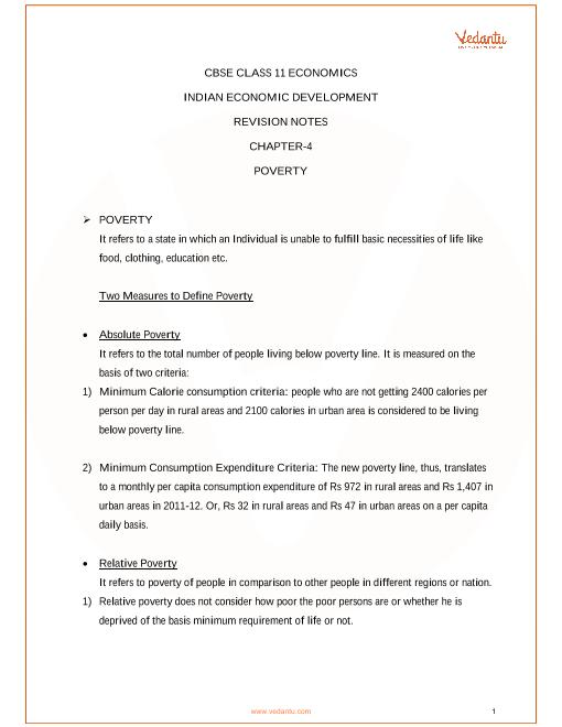 CBSE Class 11 Indian Economic Development Chapter 4