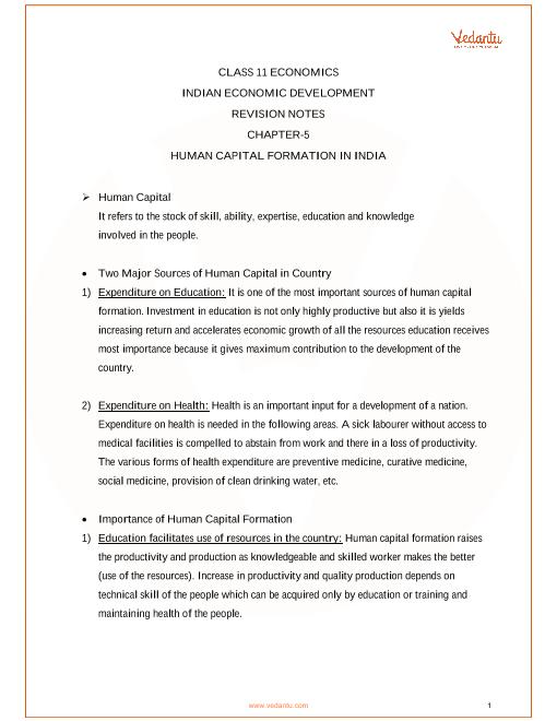 Revision Notes for Class 11 Economics Chapter 5 part-1