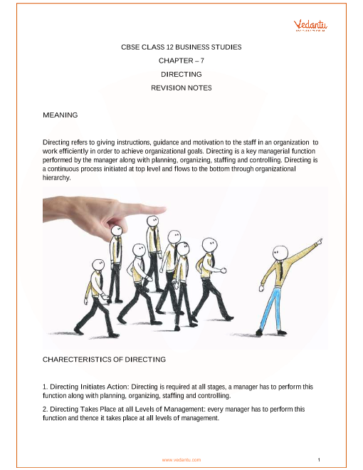 Revision Notes for Class 12 Business Studies Chapter 7 part-1