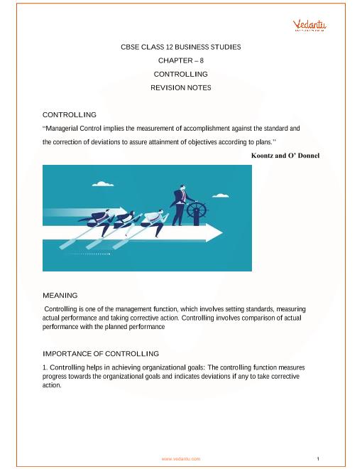 CBSE Class 12 Business Studies Chapter 8 - Controlling