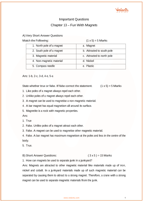 Important Questions for CBSE Class 6 Science Chapter 13 - Fun with