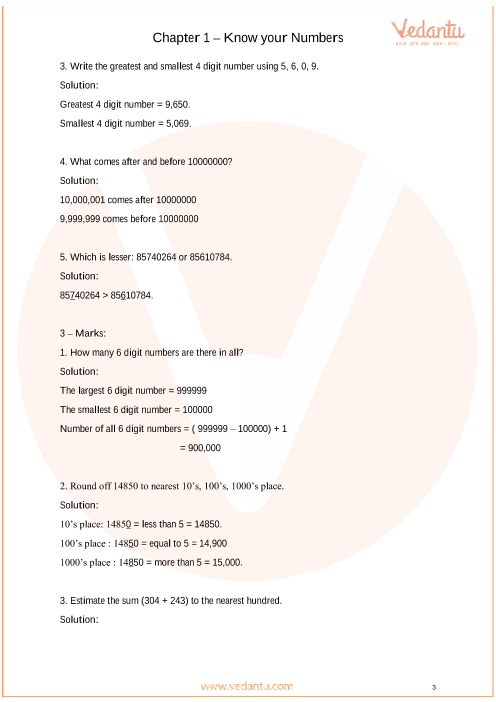 Important Questions For CBSE Class 6 Maths Chapter 1 - Knowing Our Numbers