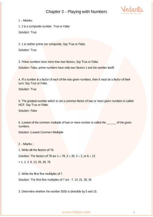 Important Questions For CBSE Class 6 Maths Chapter 3 - Playing With Numbers
