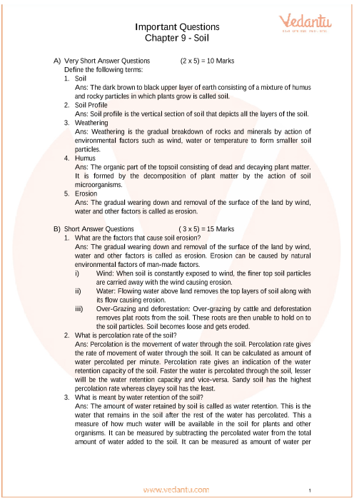 Important Questions for CBSE Class 7 Science Chapter 9 - Soil