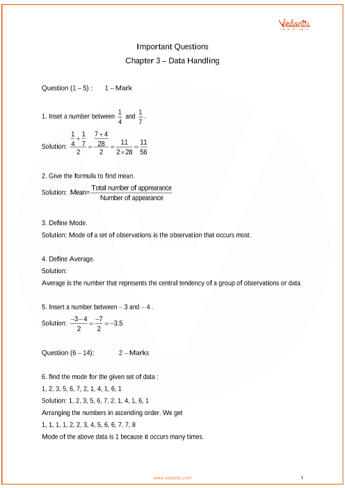 Important Questions for CBSE Class 7 Maths Chapter 3 - Data