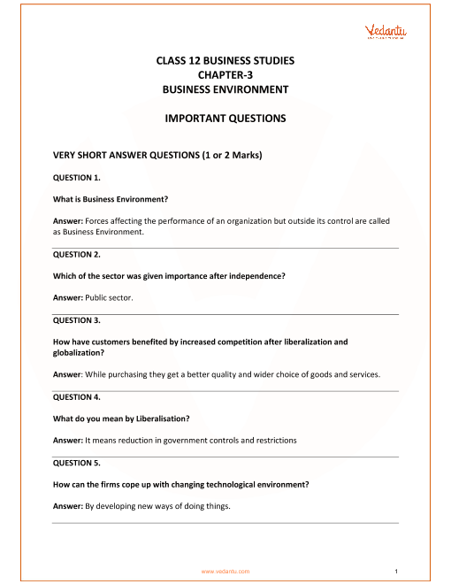 Important Questions for CBSE Class 12 Business Studies