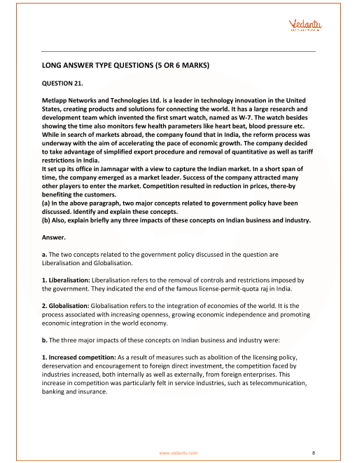 Important Questions for CBSE Class 12 Business Studies Chapter 3