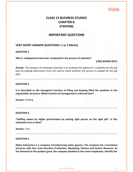 Important Questions for Class 12 Business Studies Chapter 6_Staffing part-1