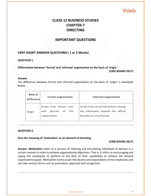 Important Questions for Class 12 Business Studies Chapter 7_Directing part-1