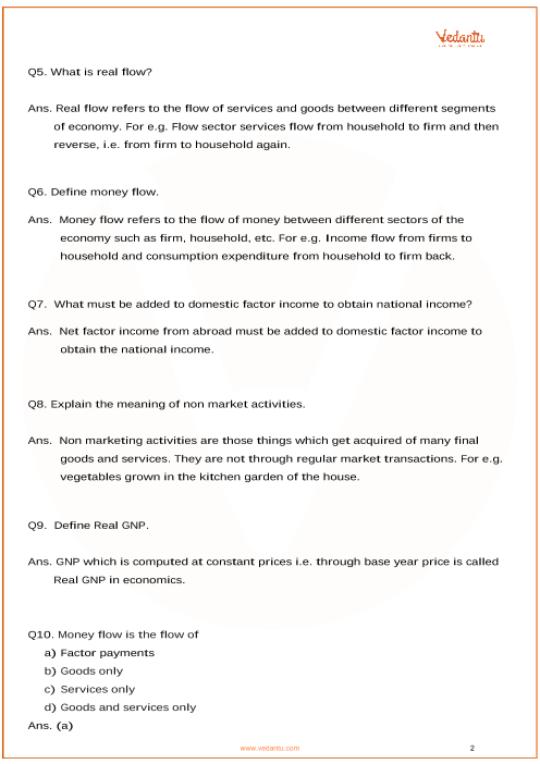Important Questions for CBSE Class 12 Macro Economics Chapter 2